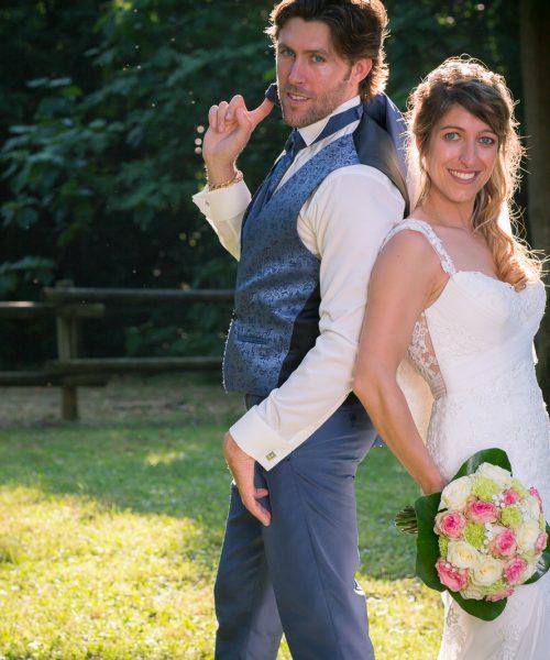 mariage, couple, portrait, bouquet